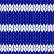 Striped knitted cloth seamless pattern in blue and white, vector — Stock Vector