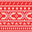Knitted scandinavian sweater seamless pattern in red and white, vector — Stock Vector
