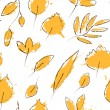 Yellow autumn leaves on white grunge seamless pattern, vector — Stock vektor