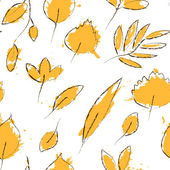 Yellow autumn leaves on white grunge seamless pattern, vector — Stock Vector