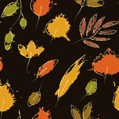 Colorful autumn leaves on dark brown grunge seamless pattern, vector — Stock Vector