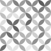 Gray overlapping circles abstract geometric seamless pattern on white, vector — Stock Vector