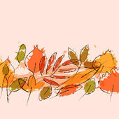 Colorful grunge autumn leaves stripe background, vector — Stock Vector