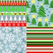 Winter holidays christmas seamless patterns set in red green blue and white, vector — Stok Vektör