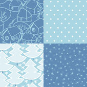 Winter holidays seamless patterns set in blue and white, vector — Stock Vector
