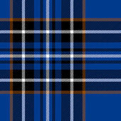 Tartan traditional checkered british fabric seamless pattern, blue and black, vector — Stock Vector
