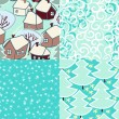 Christmas seamless patterns set in blue and white - snow, window frost, christmas trees, vwinter illage. Vector — Stock Vector
