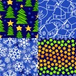 Stock Vector: Christmas seamless patterns set in blue and white - snow, christmas trees, winter village, stars. Vector