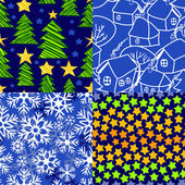 Christmas seamless patterns set in blue and white - snow, christmas trees, winter village, stars. Vector — Stock Vector