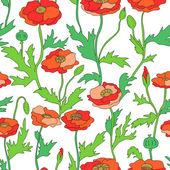 Červené a zelené květy máku bezešvé vzor na bílém, vektor — Stock vektor
