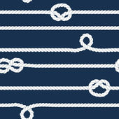 Navy and white ropes with marine knots seamless pattern, vector — Stock Vector