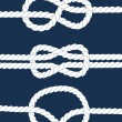 White navy rope with nautical knots on dark blue background, vector — Stock Vector