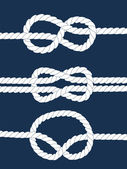 White navy rope with nautical knots on dark blue background, vector — Stockvektor