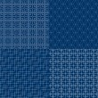 Navy blue and white simple geometric seamless patterns set, vector — Stock Vector