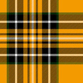 Tartan traditional checkered british fabric seamless pattern, yellow and black, vector — Stock Vector