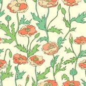 Pastel colored poppy flowers elegant seamless pattern, vector — Stock Vector