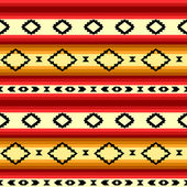 Mexican blanket geometric striped seamless pattern in yellow and red, vector — Stock Vector