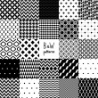 Abstract black and white twenty four various seamless patterns set, vector — Stockvektor