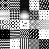 Abstract black and white twenty four various seamless patterns set, vector — Vetor de Stock