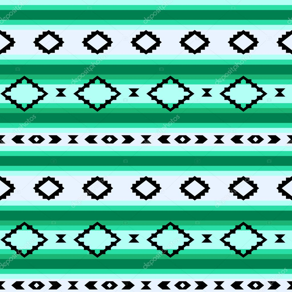 Striped mexican blanket seamless pattern in green, vector ...