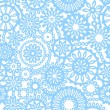 Abstract geometric filigree doilies seamless pattern in blue and white, vector — Stock Vector
