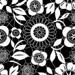 White lace crochet flowers on black seamless pattern, vector — Stock Vector