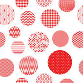Red and white patterned circles geometric seamless pattern, vector — Vector de stock