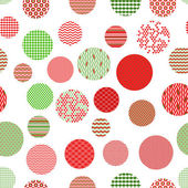 Red green and white patterned circles geometric seamless pattern, vector — Stock Vector