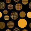Stock Vector: Golden and black patterned circles geometric seamless pattern, vector