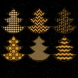 Golden patterned christmas trees on black collection, vector — Stock Vector