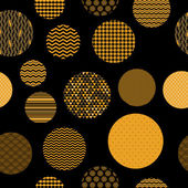 Golden and black patterned circles geometric seamless pattern, vector — Stock Vector