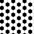 Black and white hexagon soccer ball seamless pattern, vector — Stock Vector