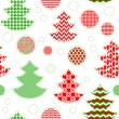 Patterned christmas trees and balls seamless pattern in red green and white, vector — Stock Vector