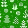 Patterned christmas trees and balls seamless pattern in green and white, vector — Stock Vector