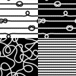 Navy rope with marine knots seamless patterns set in black and white, vector — Stock Vector #35889049