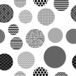 Black and white patterned circles geometric seamless pattern, vector — Stock Vector