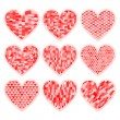 Valentine's day textured hearts collection greeting card, vector — Imagen vectorial