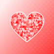 Valentine's day textured shining heart greeting card, vector — Vector de stock
