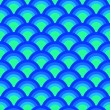 Colorful asian scallop seamless pattern in blue, vector — Vettoriali Stock