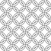 Black and white abstract geometric woven circles seamless pattern, vector — Stock Vector