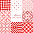 Red pink and white geometric seamless patterns collection, vector — Stock Vector #36921107