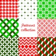 Red green and white geometric seamless patterns collection, vector — Stock Vector