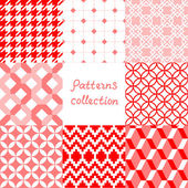 Red pink and white geometric seamless patterns collection, vector — Stock Vector