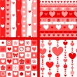 Hearts valentine's day seamless patterns set in red and white, vector — Stock Vector
