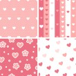 Hearts valentine's day seamless patterns set in pink and white, vector — Stock Vector