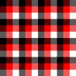 Checkered gingham fabric seamless pattern in black white and red, vector — Stock Vector