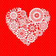 White crochet lace flowers heart on red romantic greeting card, vector background — Stock Vector