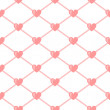 Pink mesh with hearts on white seamless pattern, vector — Stock Vector
