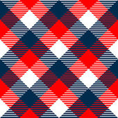 Checkered gingham fabric seamless pattern in blue white and red, vector — Vetor de Stock