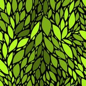 Green fresh leaves on black nature seamless pattern, vector — ストックベクタ